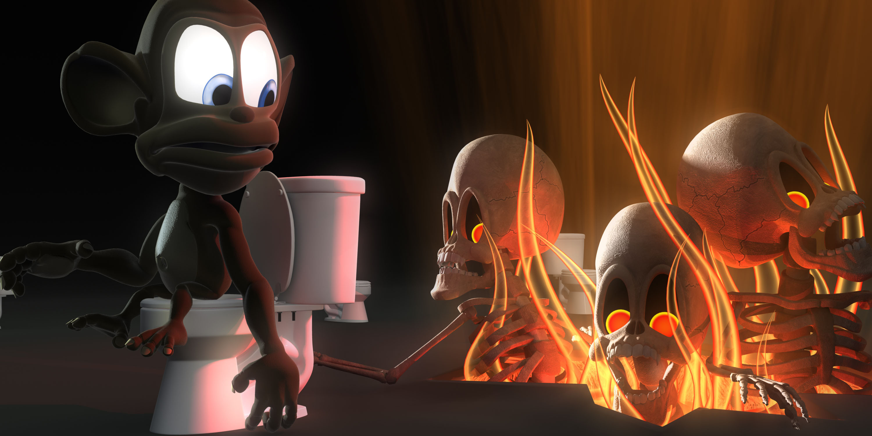 The cursed souls just happened to find a way out while Monkey was on the toilet.