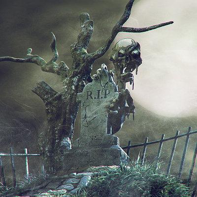 Daniel bystedt halloween graveyard monster