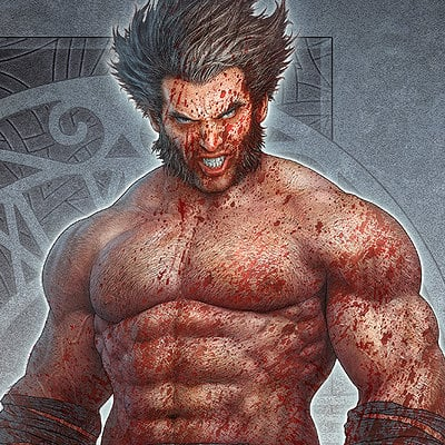 Kerem beyit wolverine fan art by kerembeyit rev3 blood shower