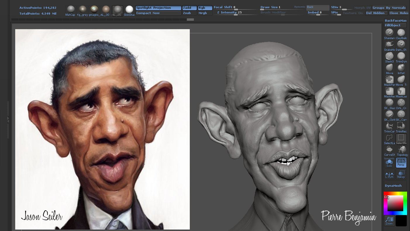 Obama caricature based on Jason Seiler 2D artpiece