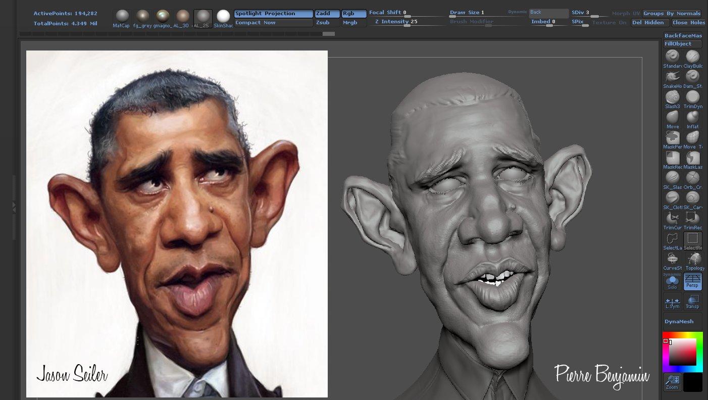 Obama caricature based on Jason Seiler 2D artpiece