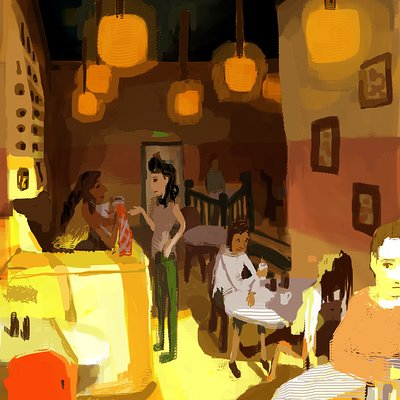 Eireni moutoussi coffeeshop people