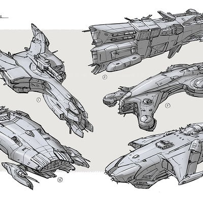 Ships battle sketches