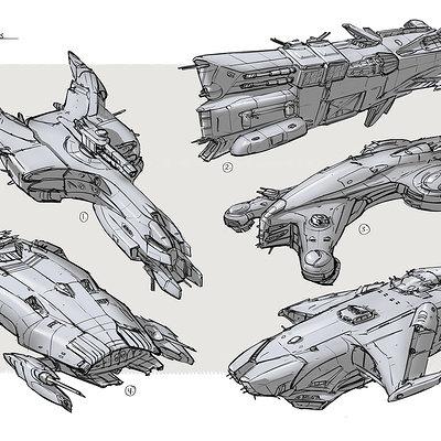 Ships battle sketches