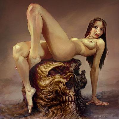 Elvira on a chocolate wooden skull