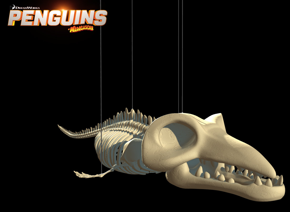 Aquarium Whale Skeleton design (Maya Viewport 2.0)