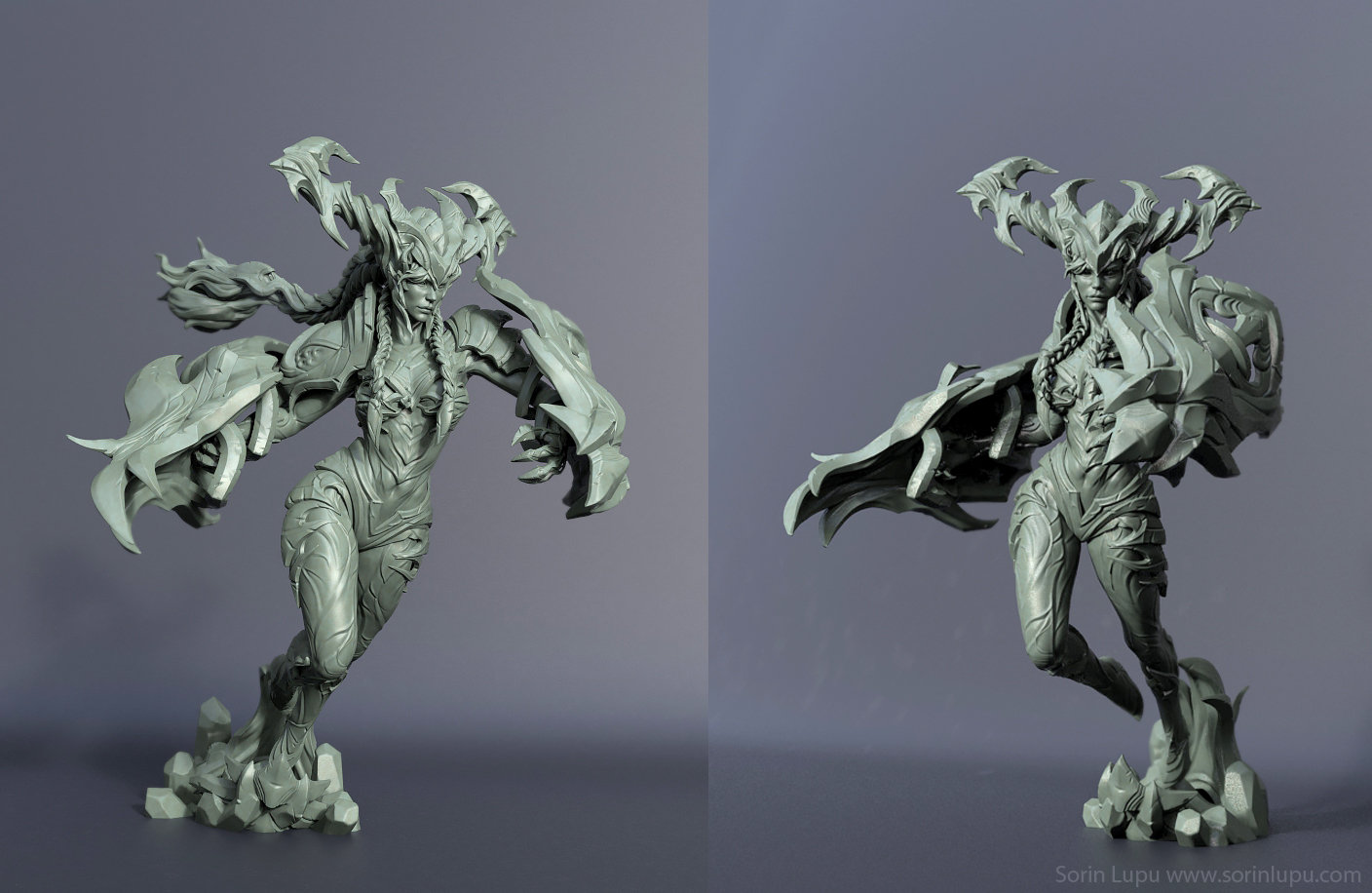 The Highpoly of my entry Shyvana from Riot Art Challenge posed and then rendered with KeyShot