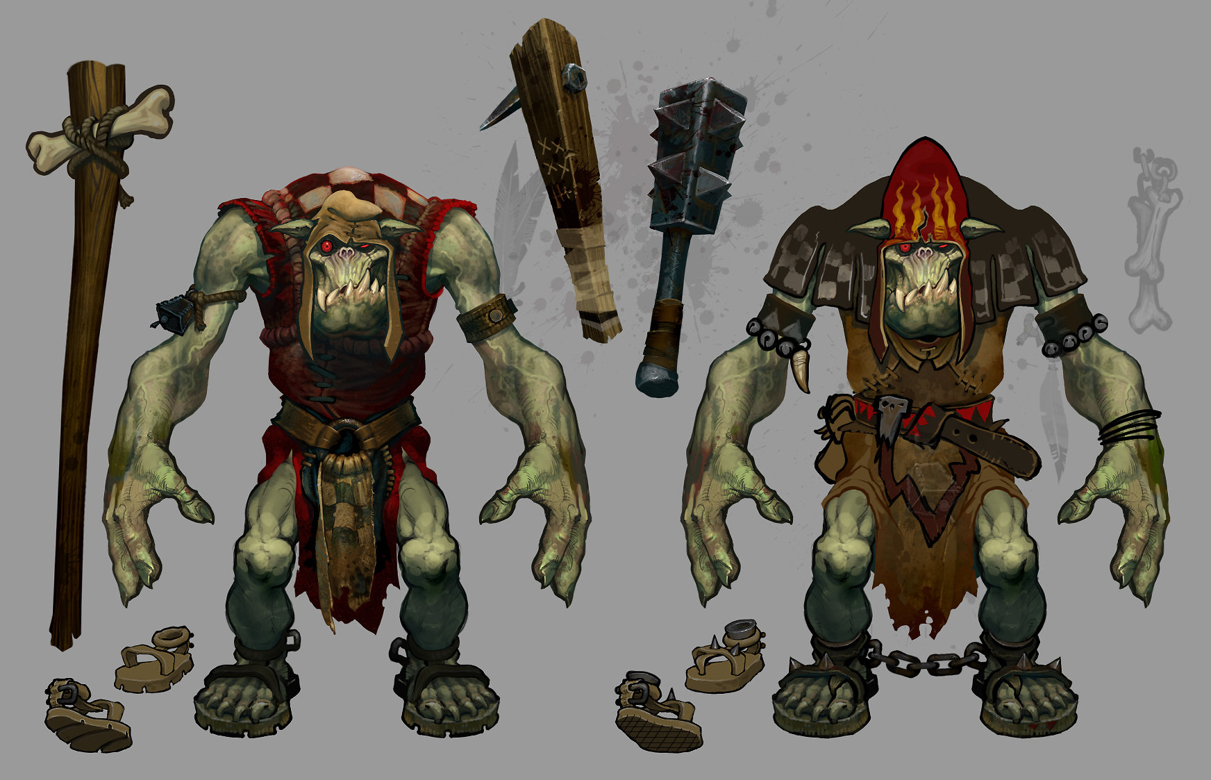 """Low tier, entry level Ork Weirdboyz, the """"MMO Caster class"""" in leather armor. Early on in development the armors were set up in light, medium and heavy categories."""