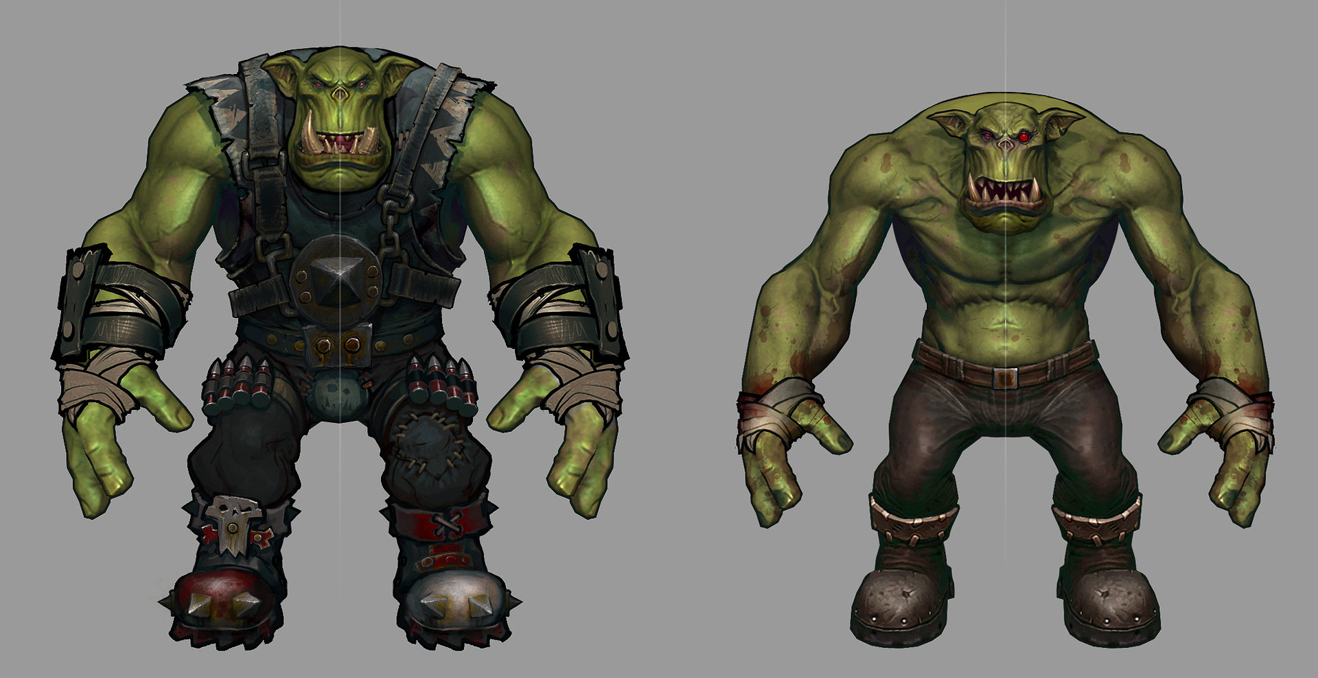 """Ork proportion explorations painted over the base model by Brian """"BoBo"""" Jones."""