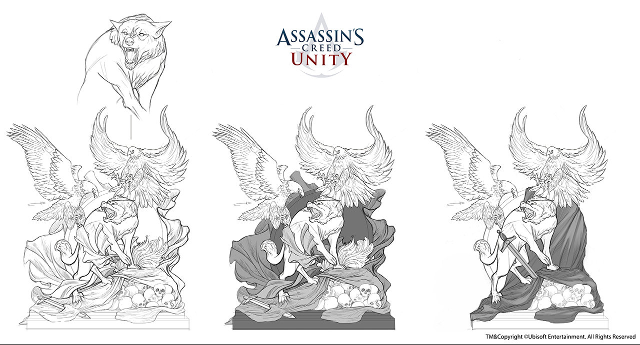 Assassin's Creed Unity /// Café théâtre Club space statue