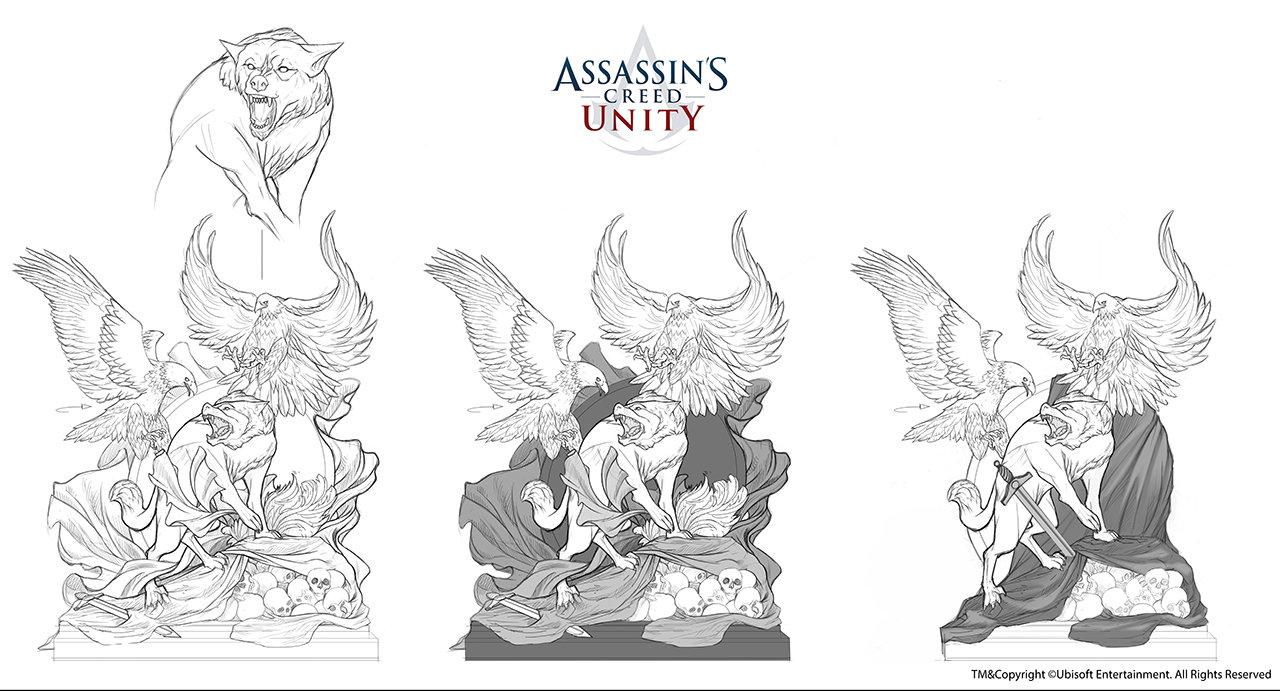 Assassin's Creed Unity /// Café théâtre Club space statue