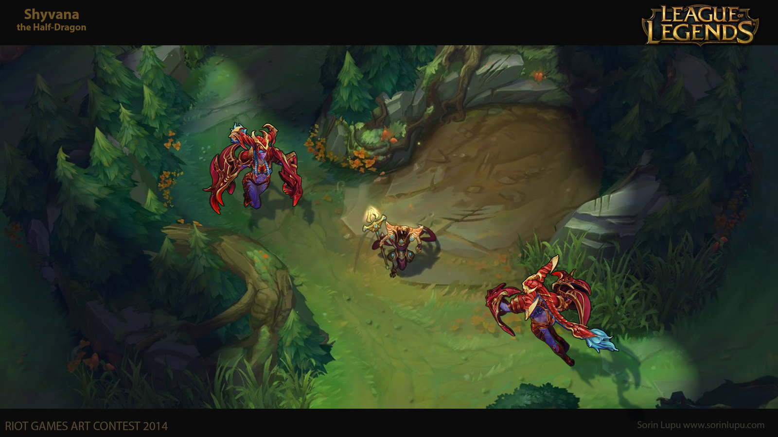 Composite shot over the updated Summoner's Rift map.