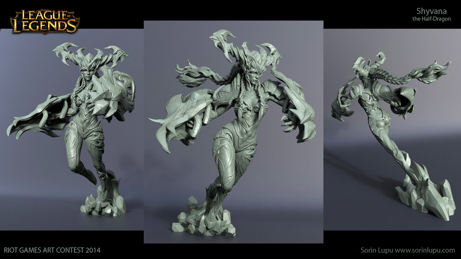 Beauty shot of the high poly sculpt, sculpted in ZBrush and Maya, rendered in KeyShot.