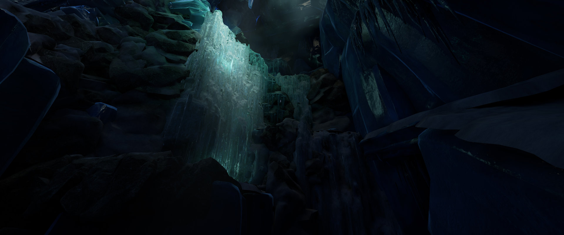 Level art, Light artist, Modelling rocks and Frozen fall