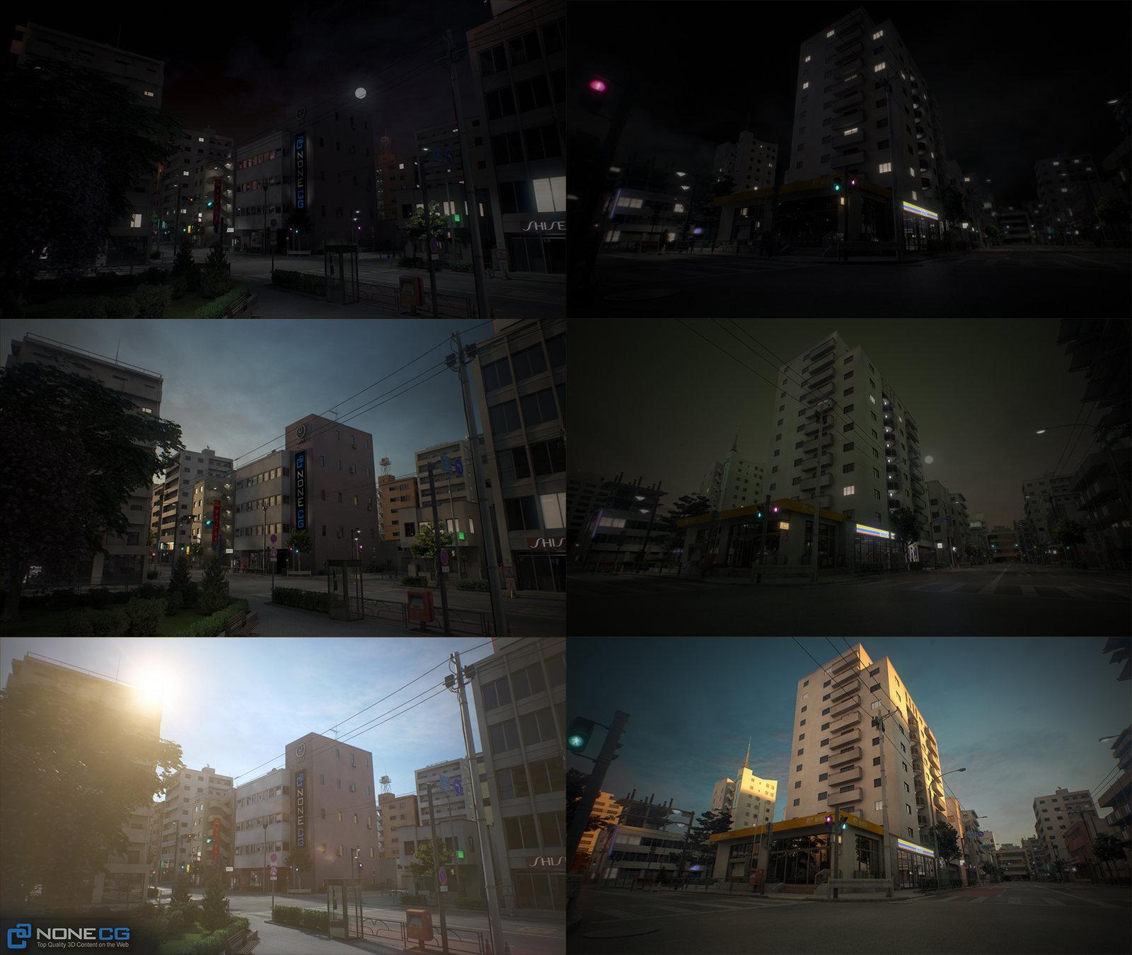 3D Japan City Tileable Blocks by NoneCG
