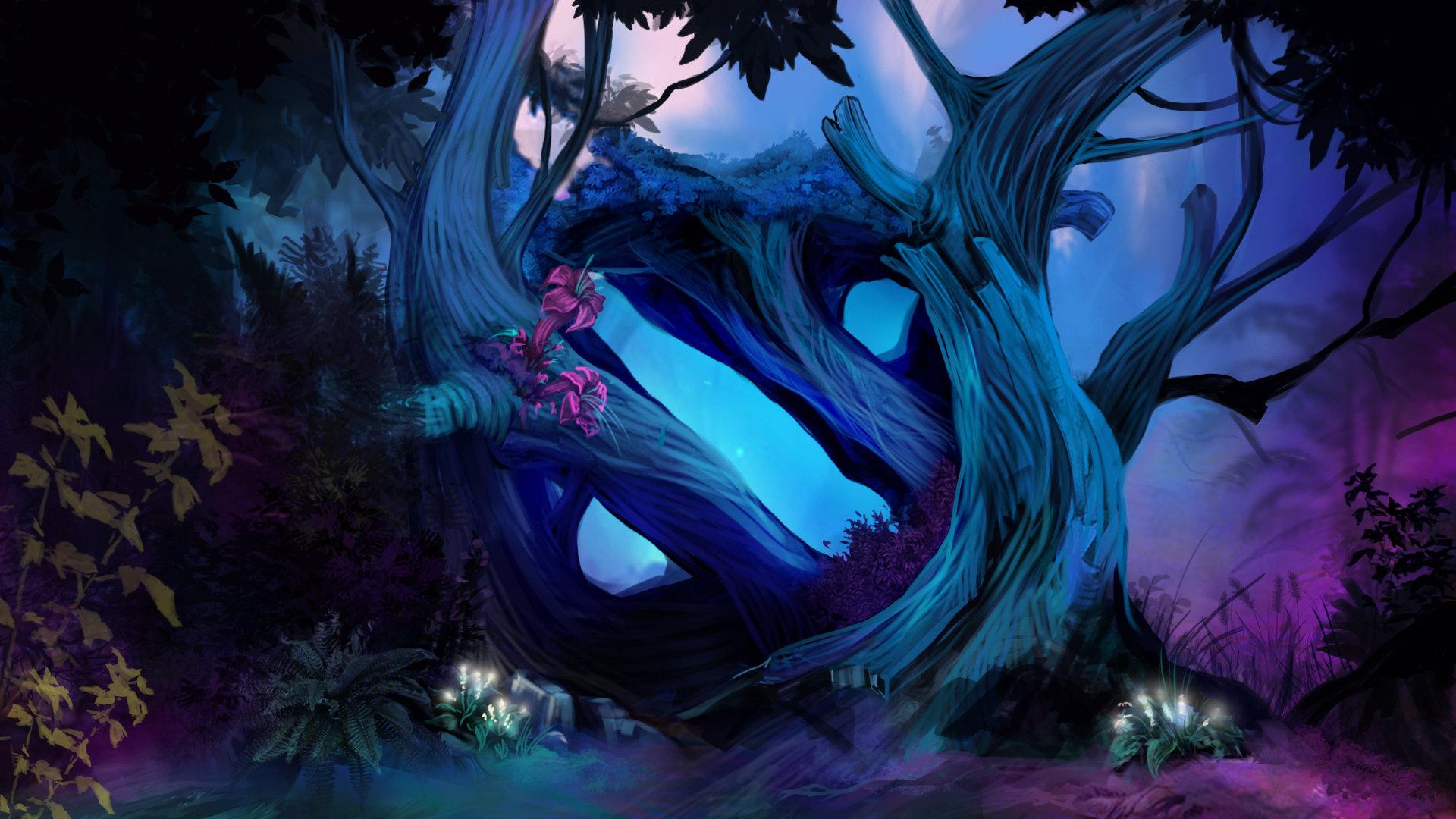 artstation loadingscreen for magic forest hudskin in dota 2