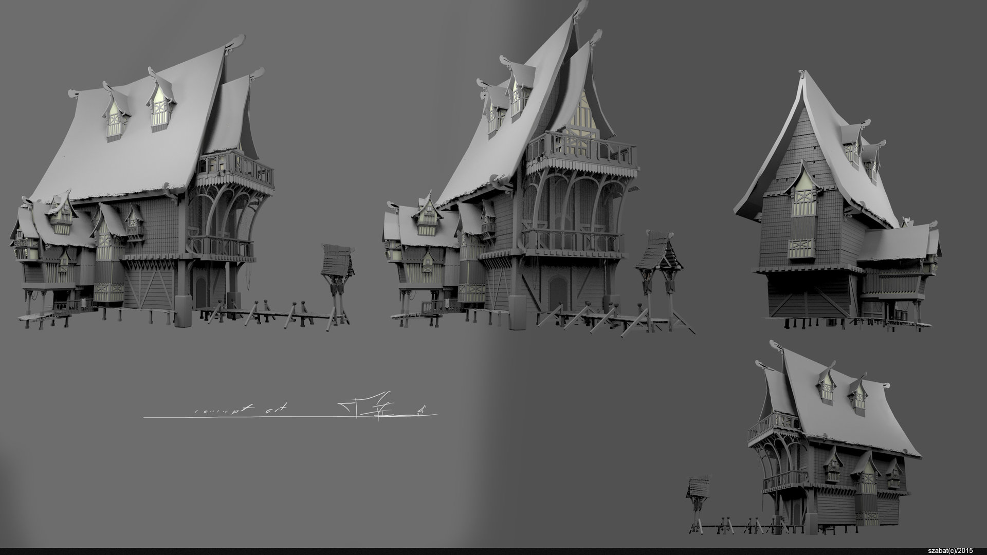 Artstation concept wood house szabat for Concept home