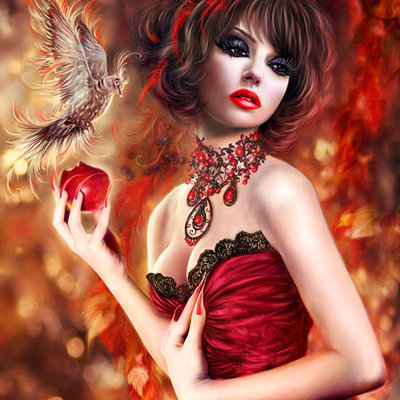 Katarina sokolova latanska red portrait with apple