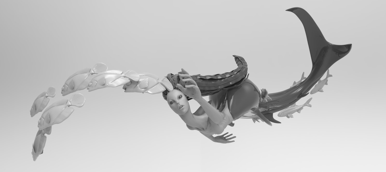 Test Mermaid Render, before I reworked her hair for 3d print