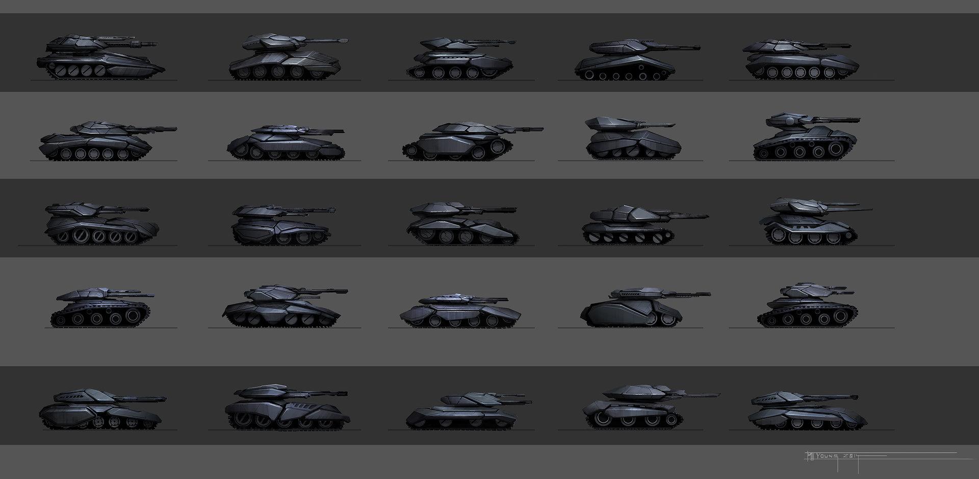 Muyoung kim armor asia corp tank concept thumbnails