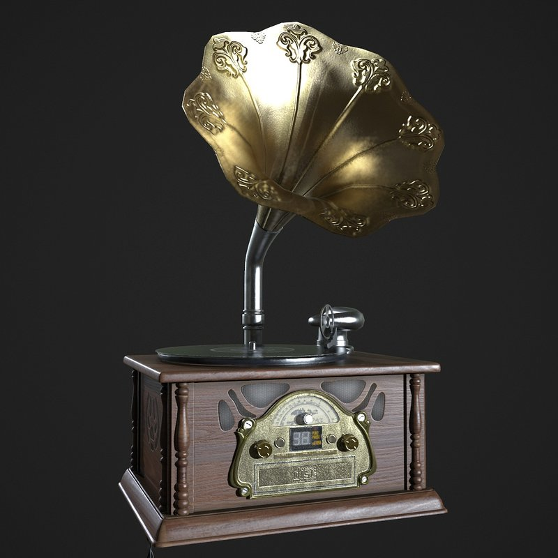 Antique Gramophone Realtime render