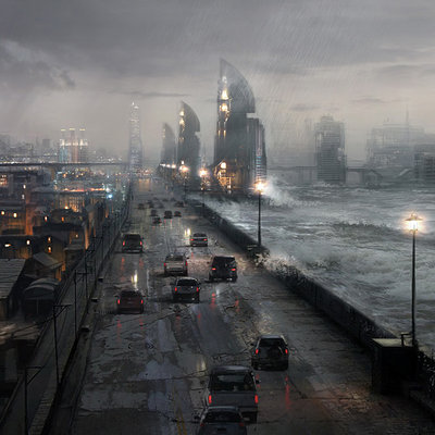 Atomhawk design citywalls stormy light