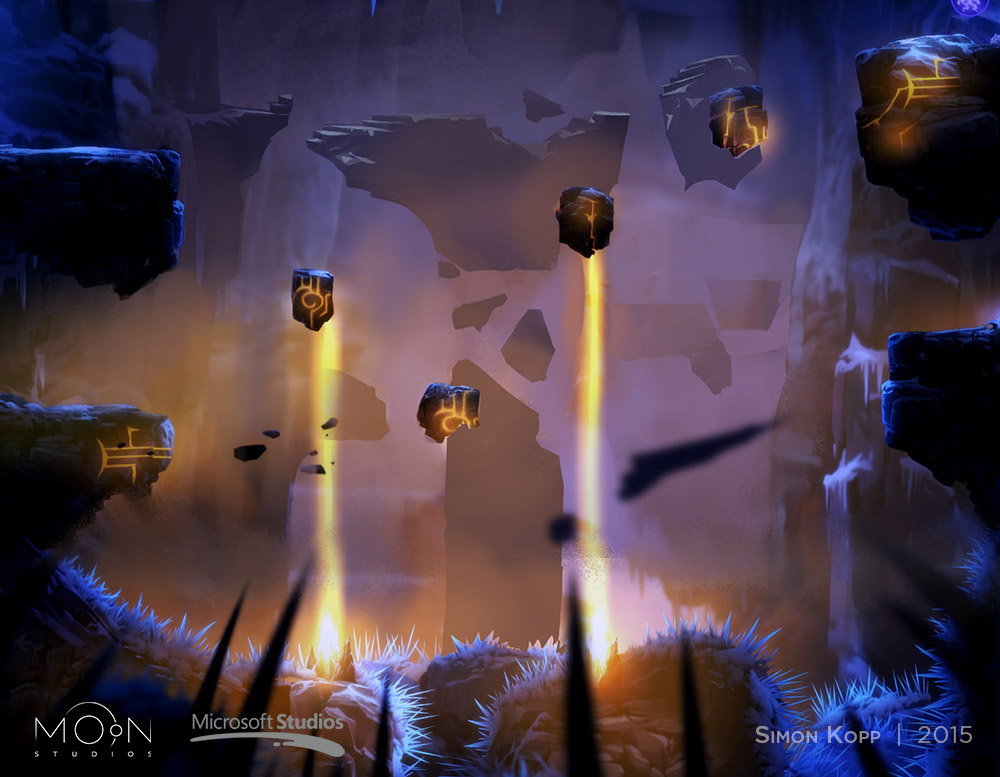 Environment Concept Art for the background in the rotating lasers room in Forlorn Ruins.