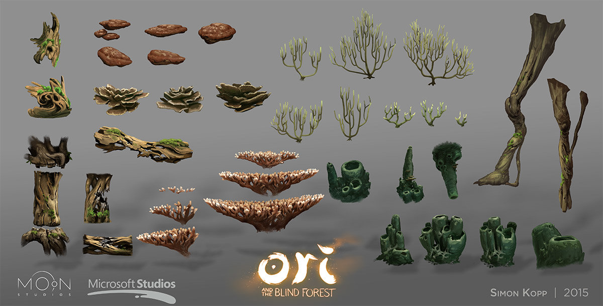 Ginso Tree asset board. All assets on this board were exclusively painted by me.