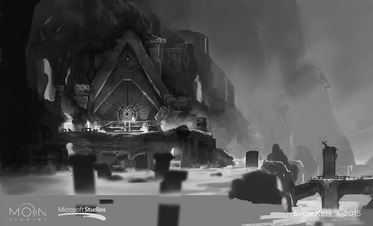 Environment Concept Art for Mount Horu Entrance. This was my first artwork for Moon Studios / Ori and the Blind Forest.