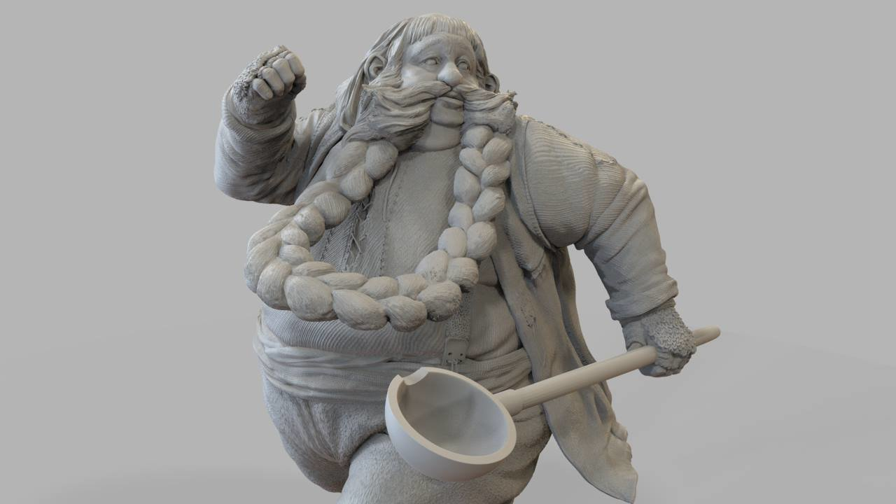 Bombur ZBrush sculpt for 3D print and manufacture of Weta Collectables