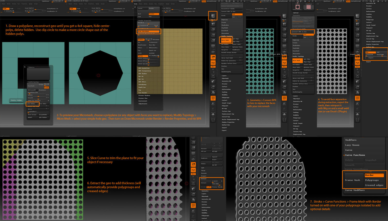 Info on how to make a plastic grate using micromesh in ZBrush