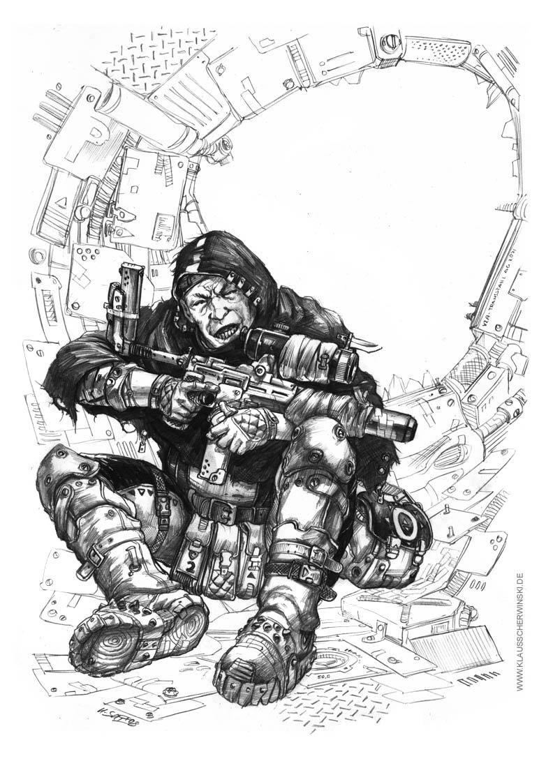 """Bleicher Sniper"", pencil. A4 size."