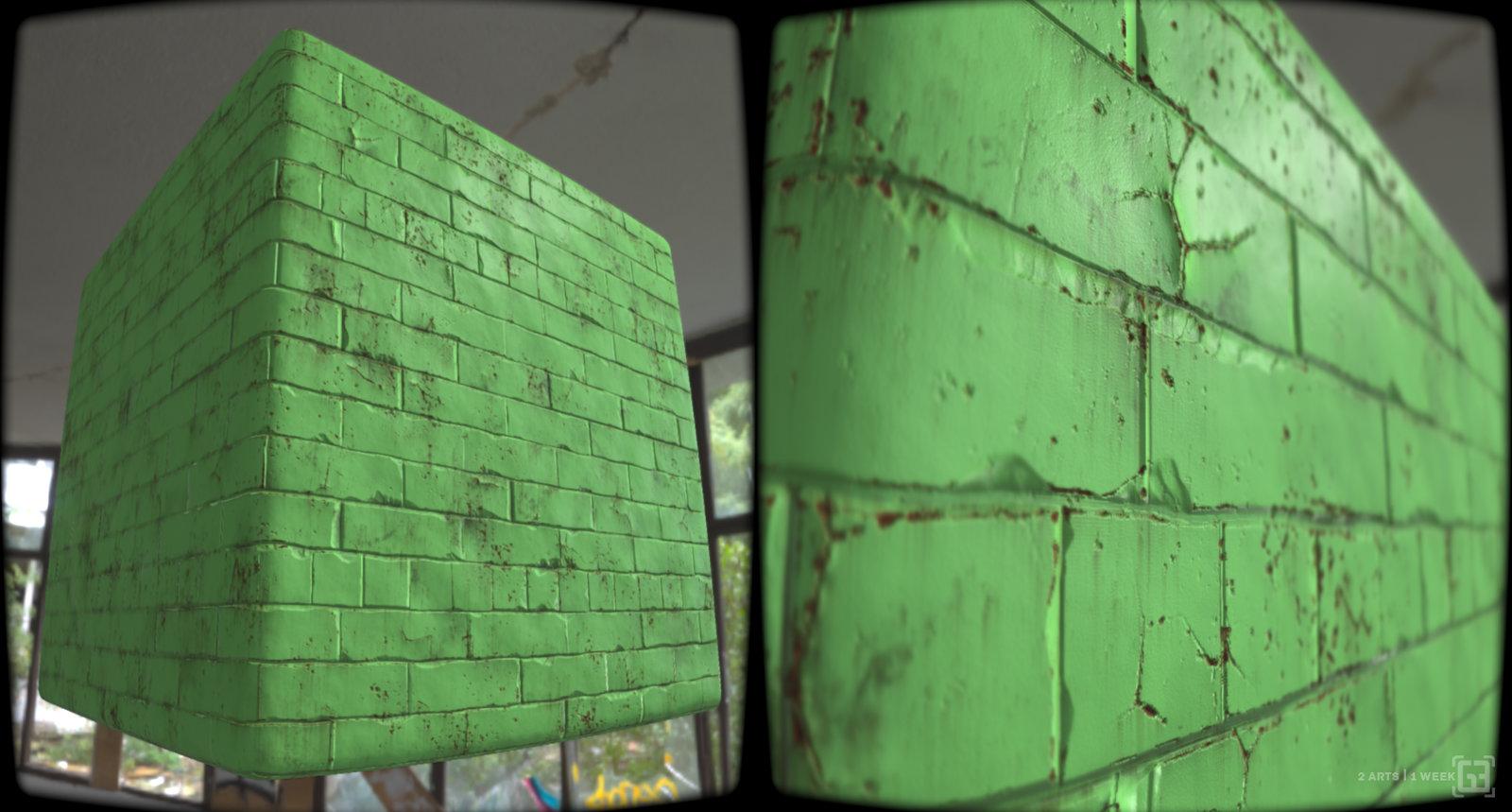 Old damaged painted brick wall