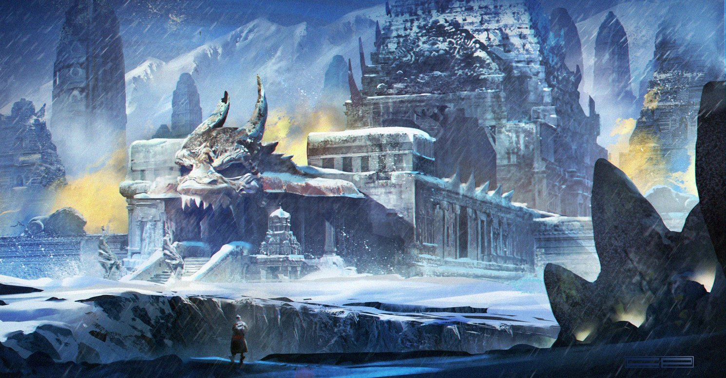 Dragon Temple in the Infinite Snow - Concept Art