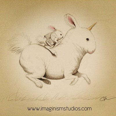 Bobby chiu bunny riding bunny unicorn by imaginism d69fhrq
