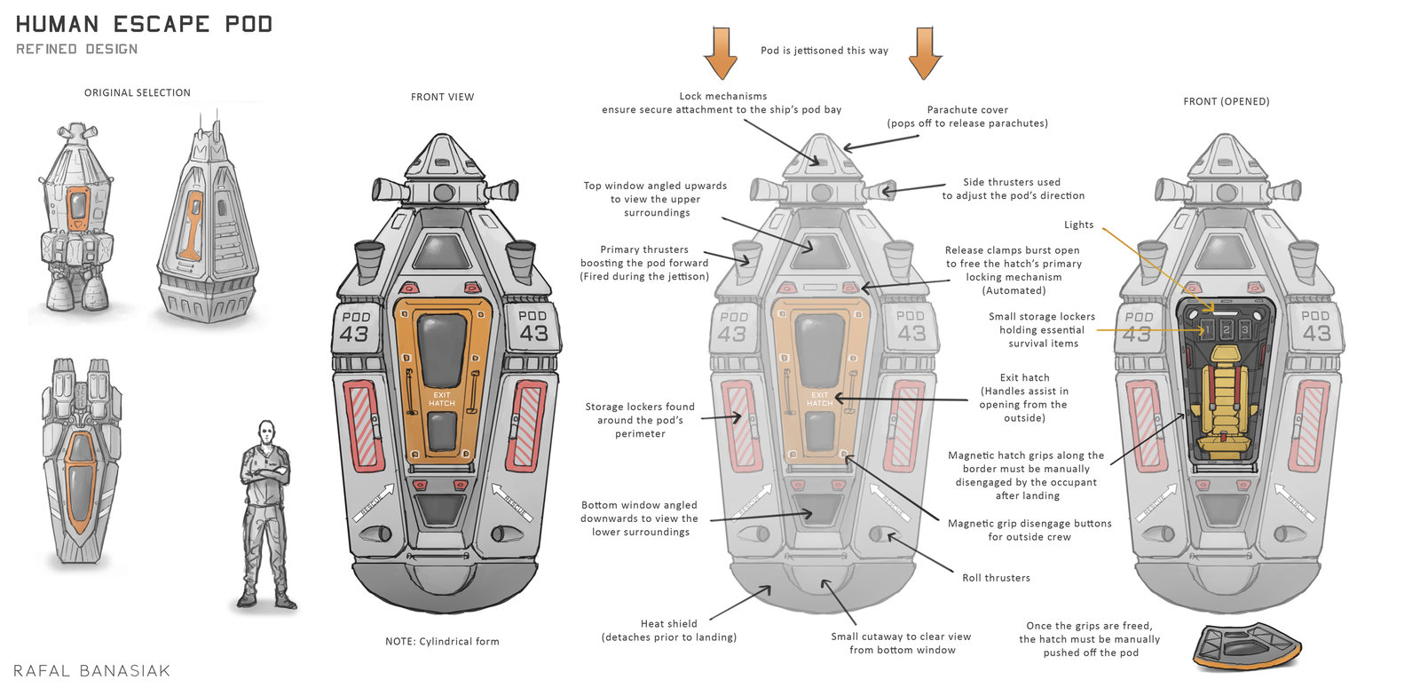 ArtStation - Encounter Planet - Escape pod concepts, Rafal