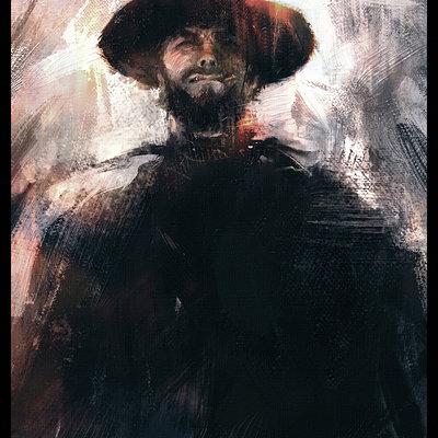 Sebastien ecosse clint eastwood man with no name leone spaghetti western painting sebastien ecosse sketch 2