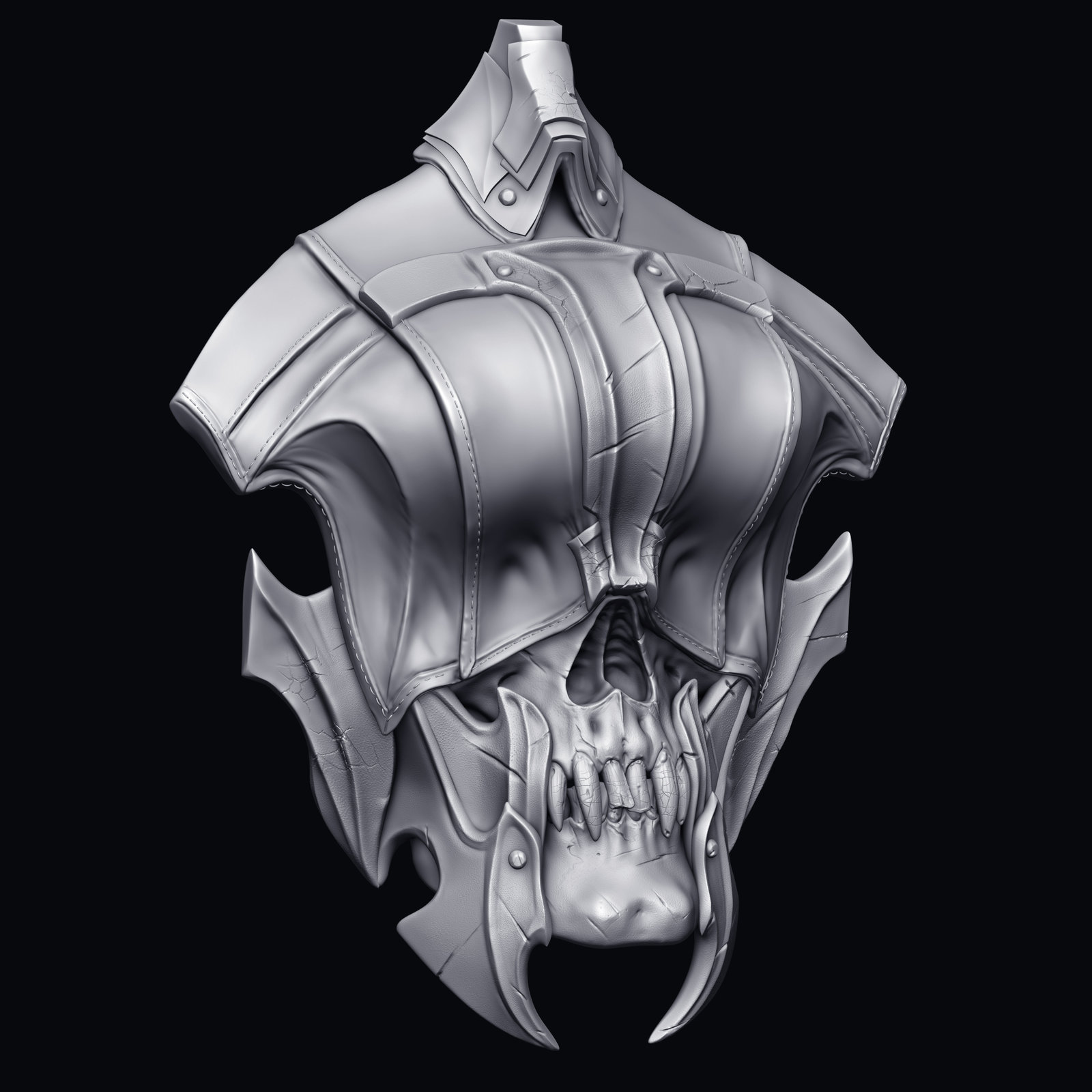 Chest skull,  It was originally designed so that the eye flaps would open and projectiles would be shot that way, but it didn't happen.  There is a full skull under that top portion.