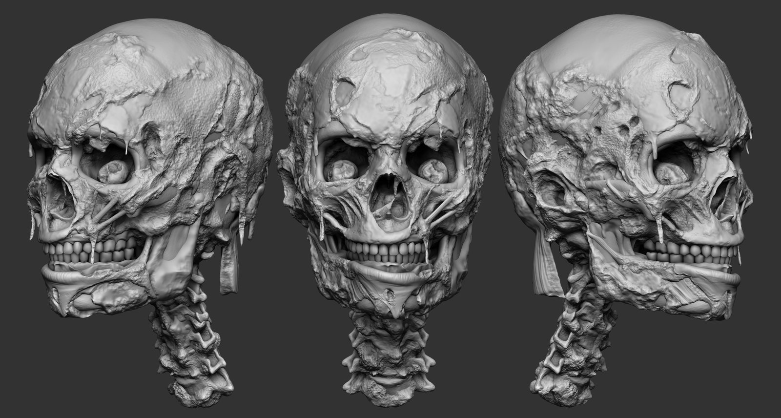 This was created for the showing at E3.   I created the asset from scratch using dynamesh and zremesher.   I used an old skull I had that I also had used for a mileena skull mouth example.