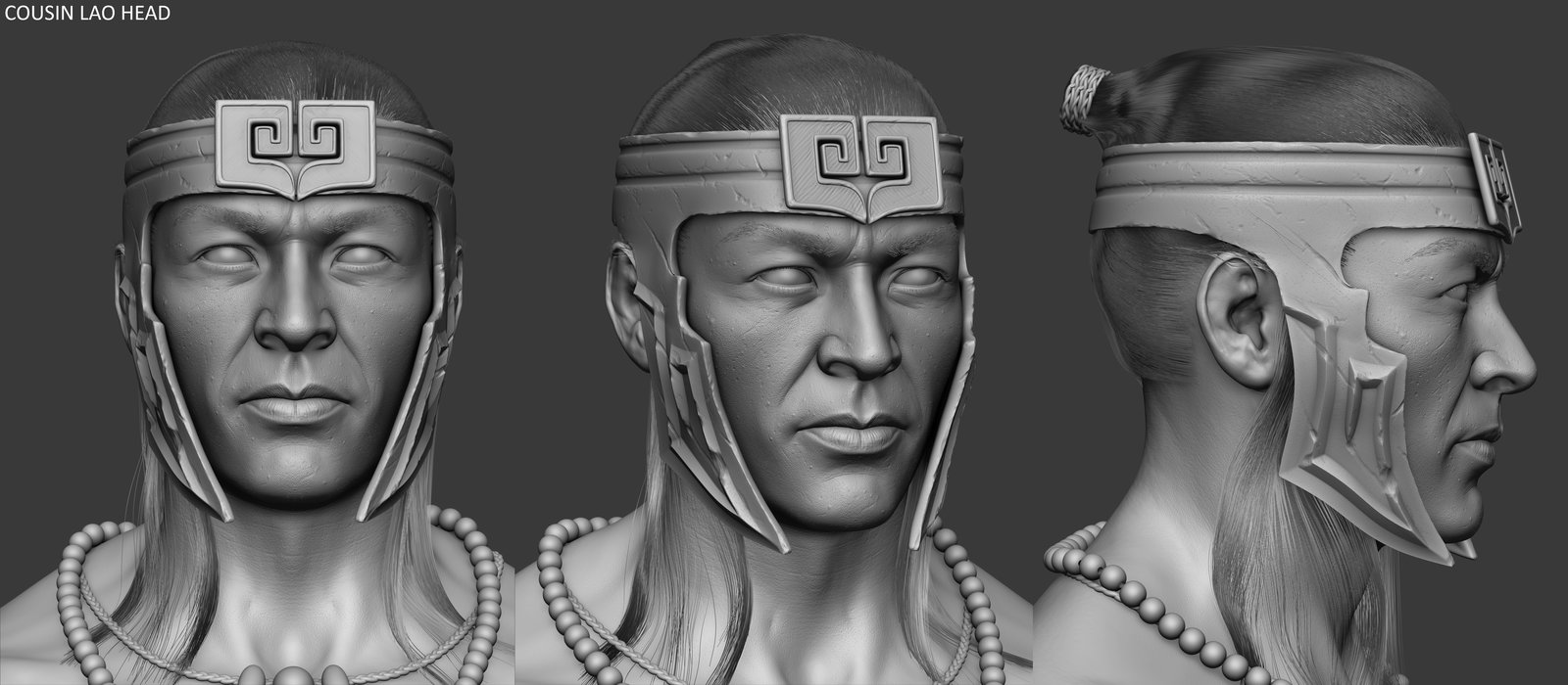 Like Kitana, Kung Jin lost a lot of his Asian features.  What I sculpted and what you see in game are too different faces.  Results of a locked base mesh and face rig that couldn't be altered later.