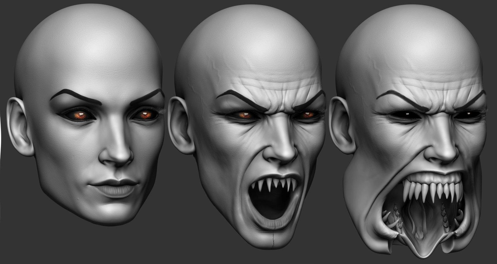 Early version, I was trying to design a mouth that looked normal, but fragmented into separate pieces.  I referenced snake skulls for it.