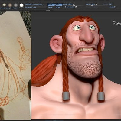 Speed sculpt zbrush WIP based on 2D concept by Kenneth Anderson