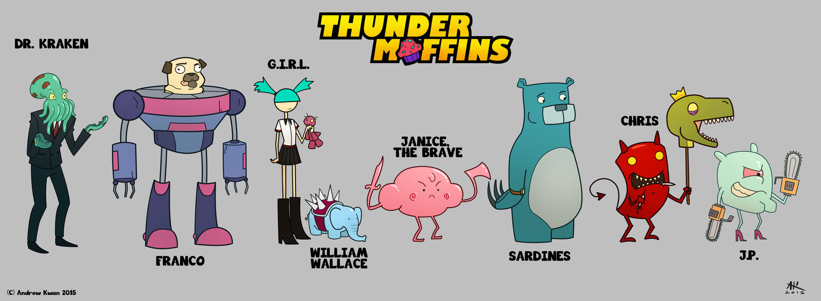 Andrew kwan thunder muffins character line up by andrewkwan d8g284a