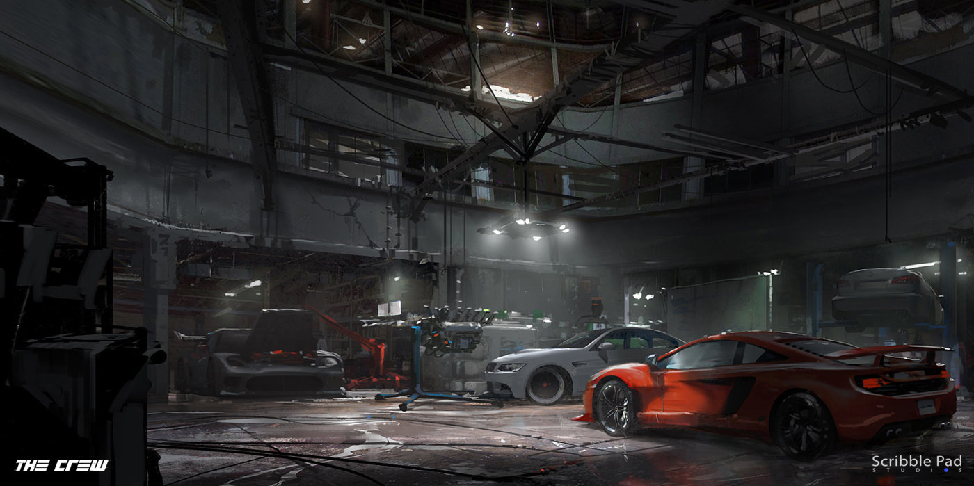 scribble pad studios the crew ubisoft garage interior design the crew ubisoft garage interior design