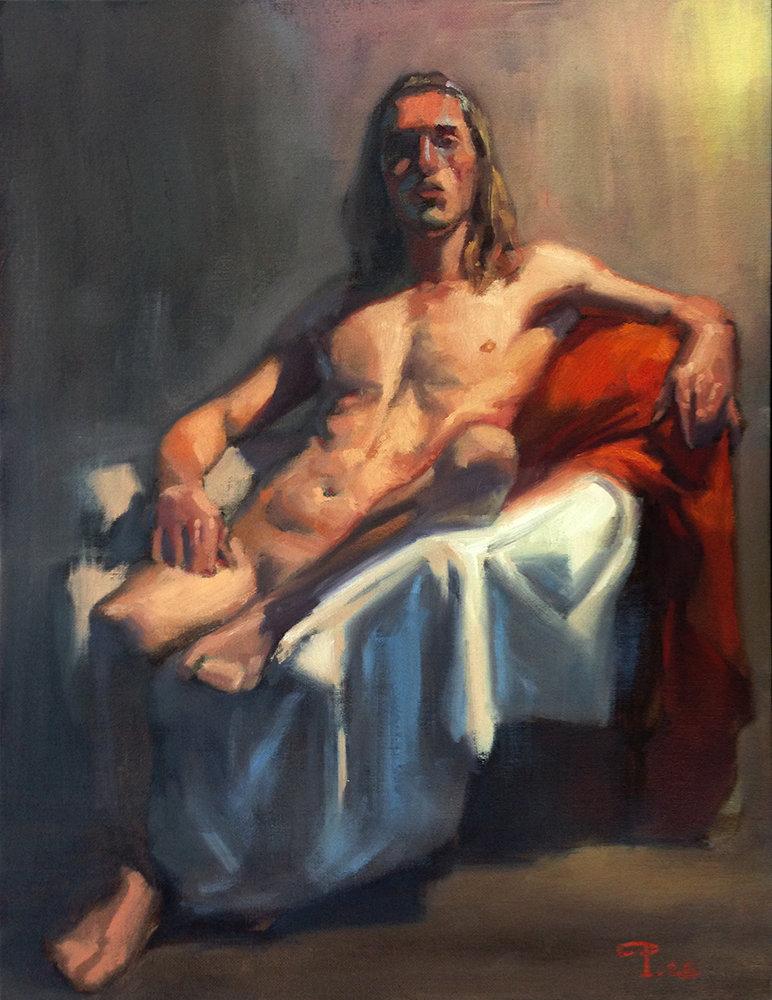 Long pose, oil paint