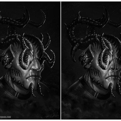 Travis lacey demon prince ravenseyestudios concept art greyscale