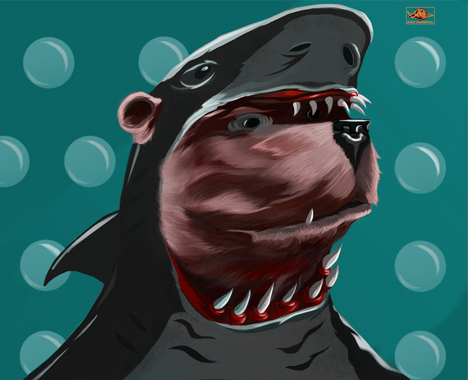 Bear in a Shark Outfit