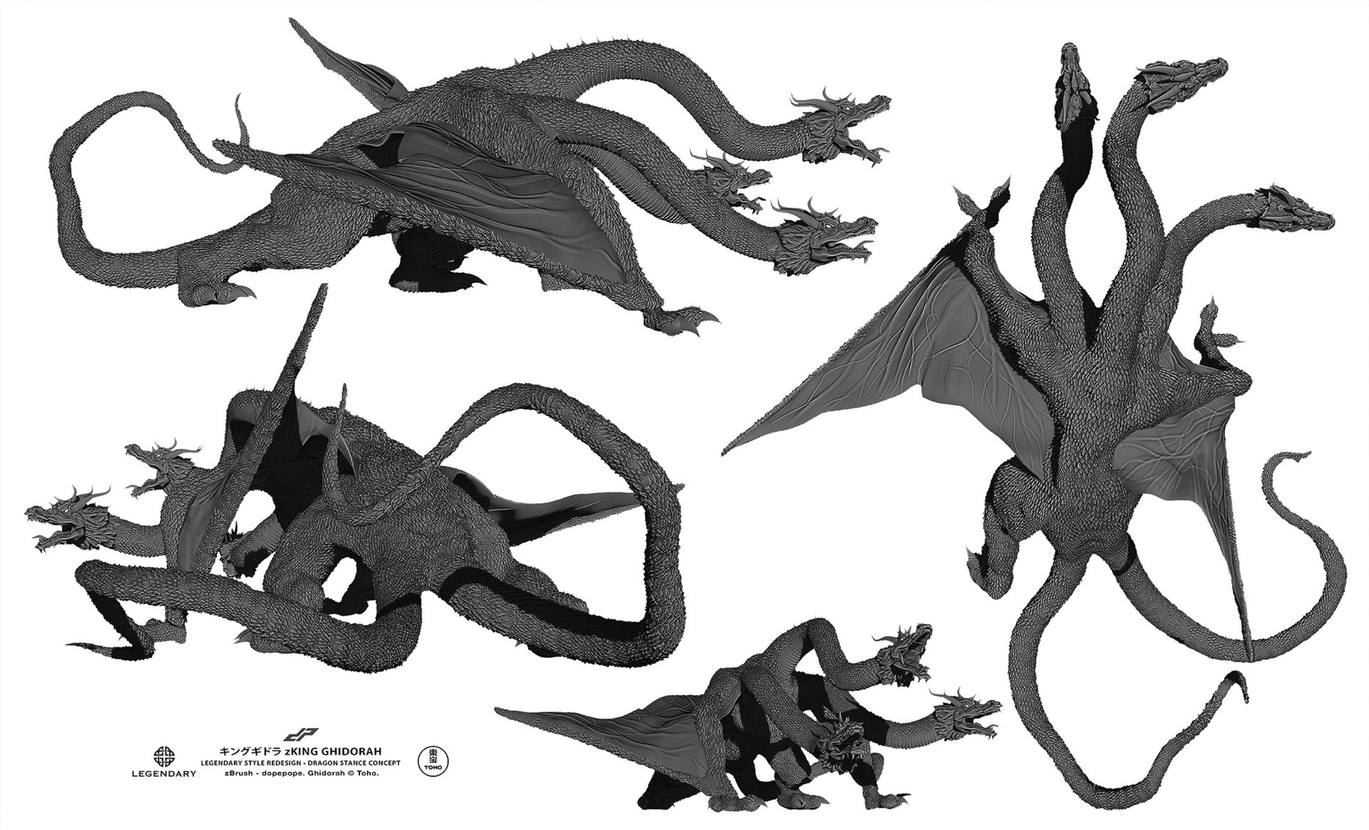 Dope pope zghidorah dragon alternates by dopepope