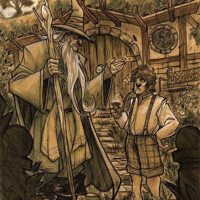 Denis medri lohobbit 01 gandalf bilbo