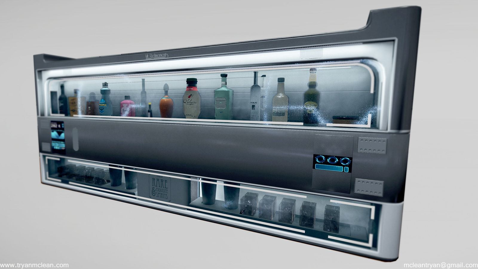 Star Citizen Subscriber Flair Liquor Cabinet. Modelling by myself. VFX and Liquor logos done by others on team.